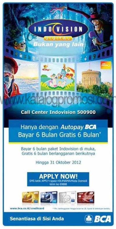 Bayar 6 bulan Paket Indovision dengan AutoPay BCA Gratis 6