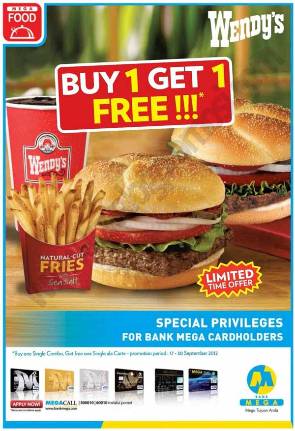 Promo Buy 1 Get 1 Free Di Wendys Dengan Kartu Kredit Bank Mega Discount And Promo Hunter