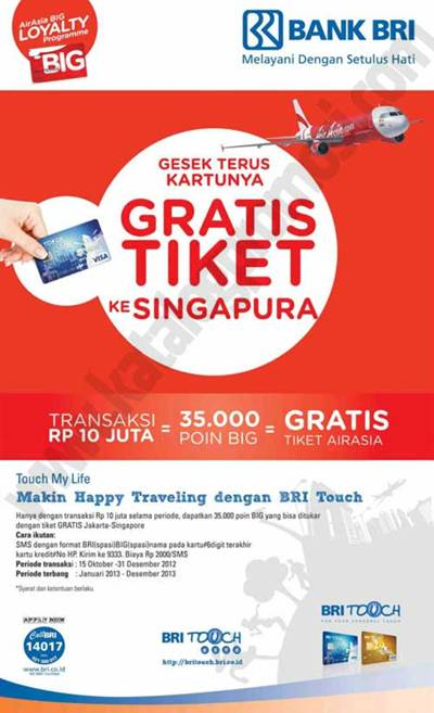 Gratis Tiket Airasia Jakarta Singapura Dari Kartu Kredit Bri Touch Discount And Promo Hunter
