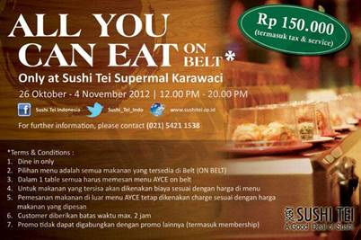 All U Can Eat On Belt Rp 150 000 Nett Di Sushi Tei Supermal
