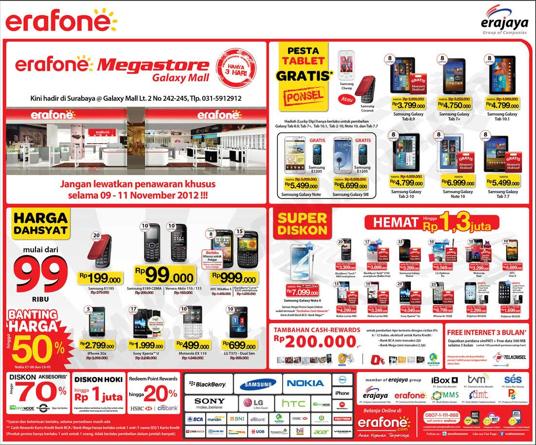Erafone megastore galaxy mall surabaya opening promo discount and advertisements reheart Choice Image