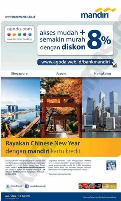 Kartu Kredit Mandiri Special Offers Diskon 8 Untuk Pemesanan Hotel Di Agoda Discount And Promo Hunter
