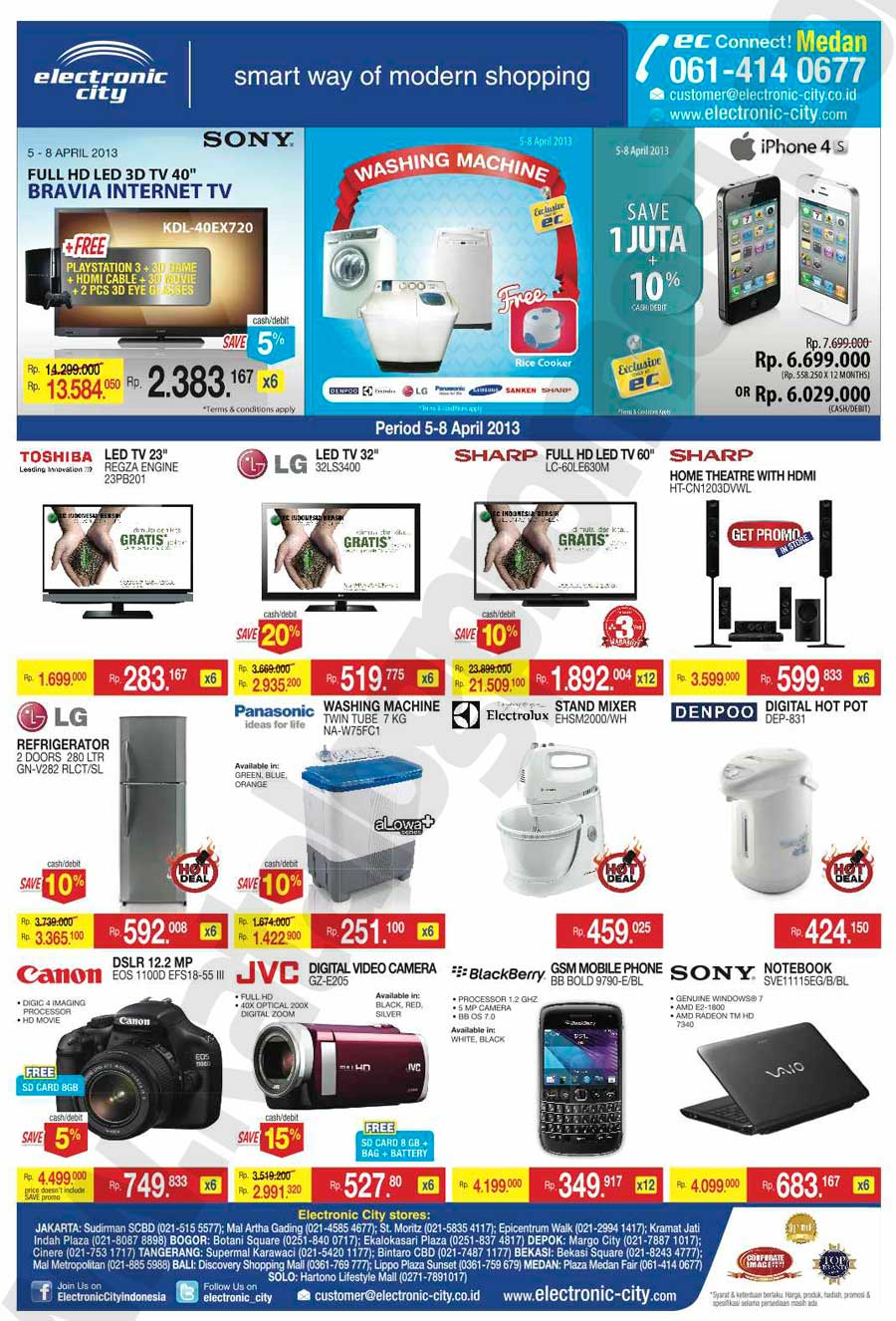 Katalog Belanja Dan Promosi Electronic City Medan Periode 05 08 April 2013 Discount And Promo Hunter