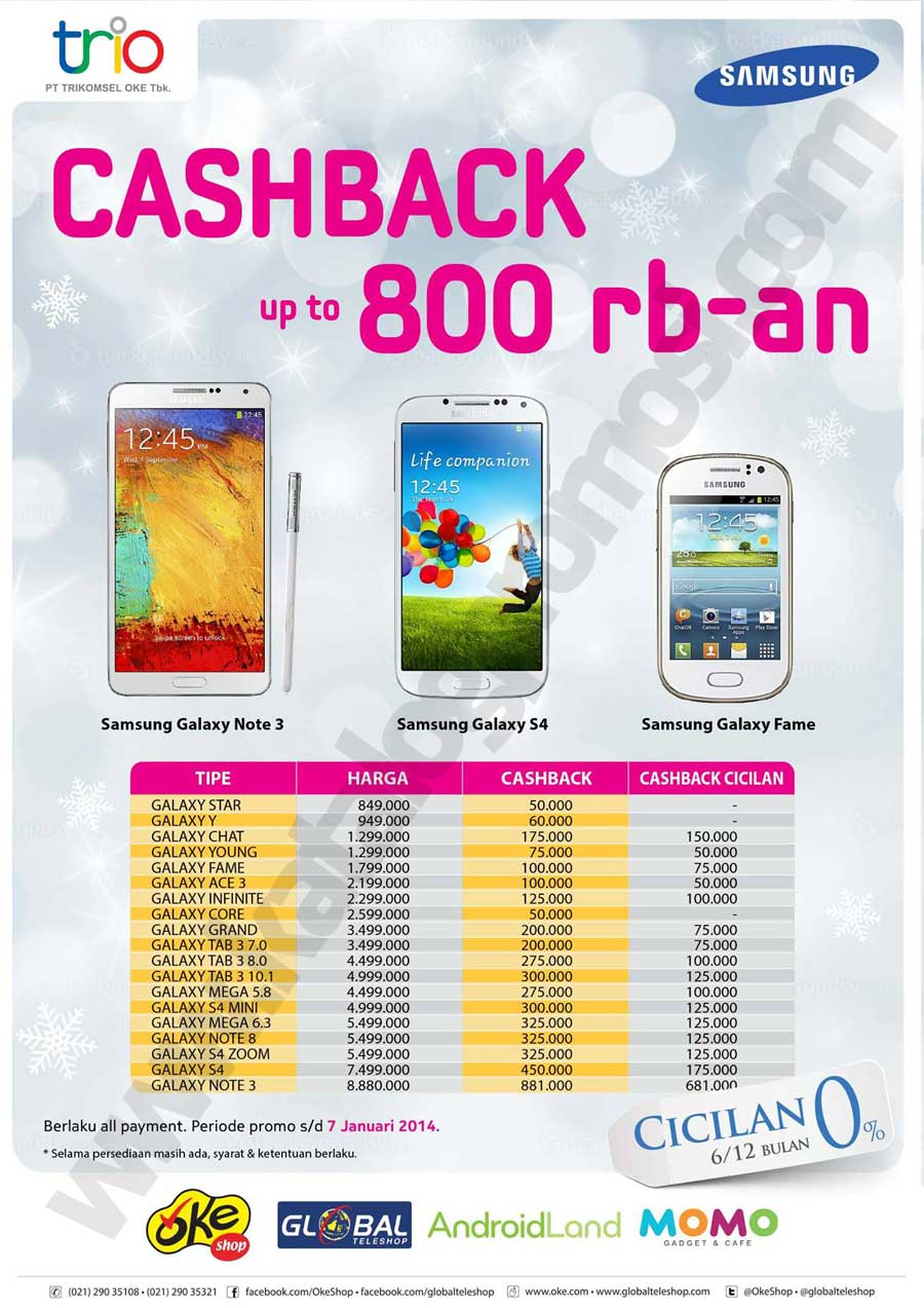 Global Teleshop Promo Cashback Samsung Hingga Rp 800ribu An Discount And Promo Hunter