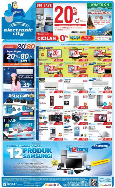 Katalog Belanja Dan Promosi Electronic City Periode 29 November 02 Desember 2013 Discount And Promo Hunter
