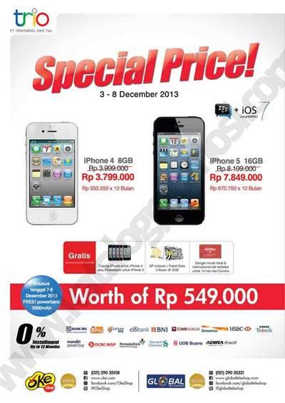 OkeShop promo Special Price untuk iPHONE 4 8GB   iPHONE 5 16GB berlaku  mulai tanggal 03-08 Desember 2013. e0f017877b